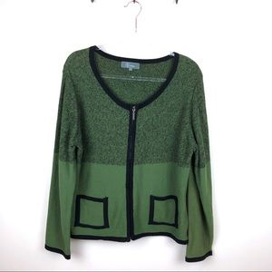 Willow Green Zip Up Cardigan Sweater Extra Large